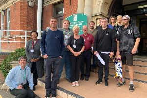 Cllr Jay Brewerton and Cllr Christine Bayliss join RDC officers and representatives from Canvas Spaces, the newly appointed contractor for the Sidley Recreation Ground skatepark project SUS-191009-153054001
