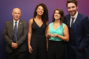 Cindy (centre left) with her award