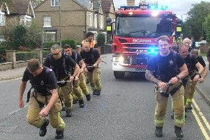 Fire engine pull. Credit: Bedfordshire Fire and Rescue Service.