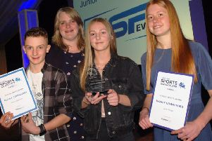 Jessie Houghton became the first winner of the School Sports Award last year. She is pictured with Kirsty Black, representing sponsors Melton Vale Sixth Form College, and finalists Jennie Sharpe and Charlie Haffenden EMN-200201-103446002
