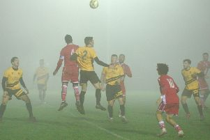 Langford and Stotfold in the fog on Wednesday evening