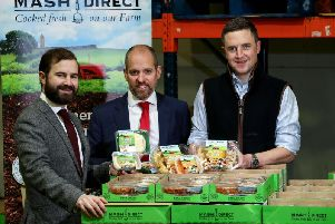 Left to right are. Jack Hamilton (chief operating officer, Mash Direct), Marty Colvin (relationship director) and Lance Hamilton (sales director, Mash Direct)