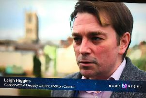 Melton Borough Council deputy leader, Leigh Higgins, pictured being interviewed on BBC2's Newsnight programme EMN-200502-113736001