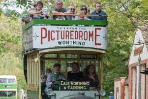 A former Worthing Motor Services bus from 1914, one of the vehicles used for rides at Amberley Museum and Heritage Centre today