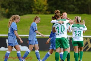 Chi City Ladies celebrate a goal at Loughborough, where they won 1-0