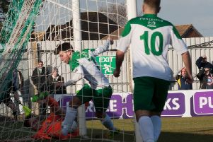 Richard Gilot scores during his Bognor loan spell last season / Picture by Tommy McMillan