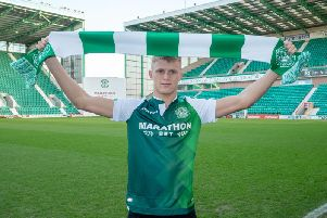 From one green and white team to another - Tommy Block at Hibs / Picture by Hibernian FC