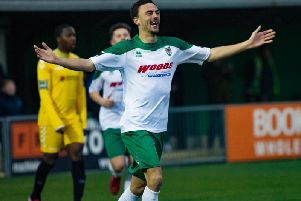 Jimmy Muitt celebrates the opening goal against Potters Bar / Picture by Tommy McMillan