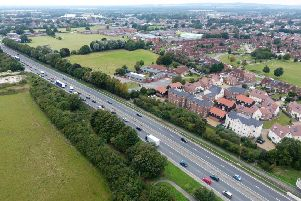 CHICHESTER WHYKE ROUNDABOUT  LOOKING WEST -AERIAL DRONE PICS SUS-161229-121602001