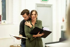 The Girl on the Train Rehearsal  - Samantha Womack (Rachel Watson) and Adam Jackson Smith (Tom Watson). Photo by Helen Maybanks