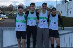 Jo Corbett, Harry Leleu, Mike Houston and Chris Bird scored for Chichester at the Priory 10k / Picture by Keith Akerman