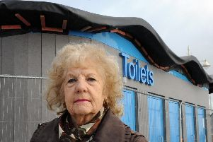 Cllr Jeanette Warr by the toilets on Bognor seafront. Photo by Kate Shemilt ks190073-3