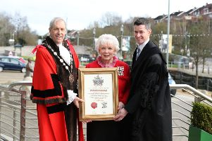 Mrs Joan Christie with Chief Executive David Burns and Mayor Uel Mackin during a tree planting ceremony at Lagan Valley Island after she received the Freedom of the City of Lisburn and Castlereagh.''  Photo by Kelvin Boyes / Press Eye