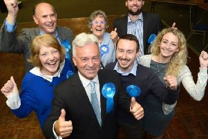 Sir Alan Duncan (front) celebrates his victory with fellow Conservatives at the General Election results night for the 2017 Rutland and Melton seat.'656464-16 : ?Lionel Heap EMN-190220-101942001