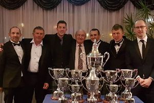 Phil Hyde, Gary Bryan, Steve Kershaw, Roger Body, Stuart Clarke, Todd Ellis, Charlie Richardson at the British Championship presentation in Lincoln. EMN-190225-100752002