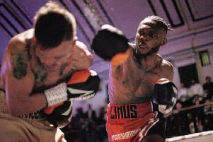 Linus Udofia in action on Saturday night - pic: T&N TV