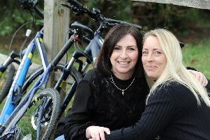 Best friends of 21 years Trisha Retter, left, and Donna Rogers are cycling from Milan to Venice in May. Picture by Kate Shemilt. ks190123-1