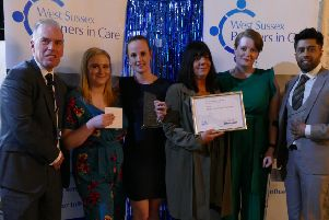 Sara Hornsey, Lorraine Gray, Shannon Odell, Lilly Hill from Albany House Care Home in Bognor Regis are presented with the End Of Life Care Award by Umar Khalil, Director of Doctors Direct Pharmacy in Chichester.