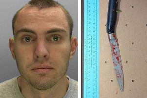 Ivanov (left) with a bloodstained knife that was found near the crime scene. Pictures: Sussex Police