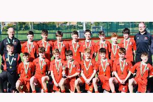 Banbridge Academy with the John Waring Cup as under 14s' All-Ireland champions.
