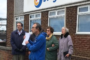 The group outside the company's Rugby office.