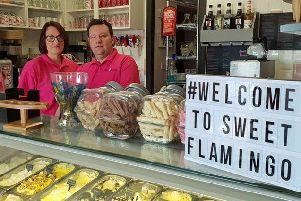 Amanda and husband Stuart Gray at the open day of Sweet Flamingo ice cream and dessert parlour