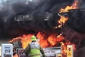 The Shell garage in Fontwell on fire yesterday (May 6)