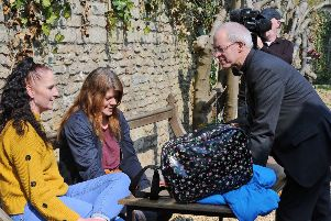 Archbishop of Canterbury Justin Welby  meeting staff, volunteers and guests at the Garden House EMN-190804-205109009