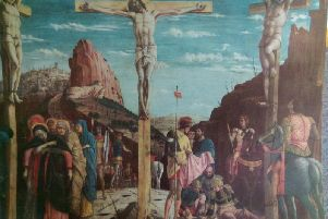 The Crucifixion as depicted in one of the vivid illustrations.