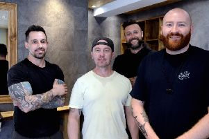 ks190286-2 Chi New Barbers   phot kate Owners of the new barbers in Little London, from left: Chris  Smith,  Jamie Rooke, Danny Grigg and Barber Ardy,  Jack  Arden.ks190286-2 SUS-190527-193526008