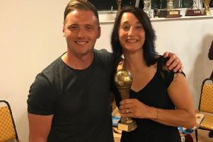 Aaron Smith presented awards to some of his Chi City Ladies' first-team squad