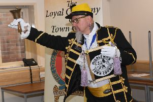 Town Crier competition at Sleaford Town Hall, with criers from around the UK taking part. Middlewich town crier EMN-191006-110257001