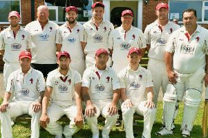 Melton Mowbray CC First XI. From left, back - Ben Redwood, Paul Stevenson, James Cusack, Joe Peveritt, Carel Fourie, Gaz Potter, Simon Claricoates; front - Carl Parker, Mike Roberts, Pete Humphries, Jamie Tew. EMN-190618-103407002