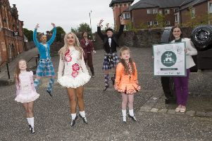 Highland dancers gather to celebrate the launch of the programme.