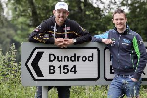 Peter Hickman (left) and Dean Harrison pictured on the Dundrod course on Monday  as the pair flew into Northern Ireland to launch the 2019 Ulster Grand Prix.
