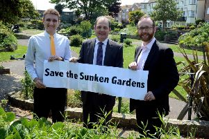 Francis Oppler, centre and Matt Stanley, right, and Martin Smith left, launching a campaign to save the sunken gardens last year.