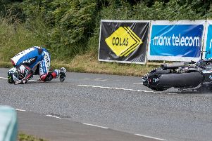 Michael Dunlop crashed after a huge high-side on the exit of Castletown corner in the Senior race on Thursday at the Southern 100. Picture: Ryan Crawley/Pacemaker Press.