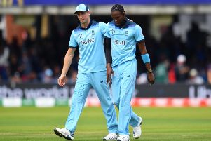 Jofra Archer gets words of encouragement during the drama at Lord's / Picture: Getty Images