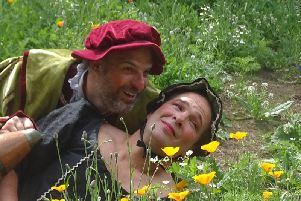 Rainbow: Peter McCrohon as Sir Toby Belch and .Jean Paul Pfluger as Maria in Twelfth Night