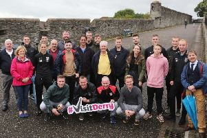 The Foyle Cup referees take a tour of the City Walls before the 2019 festival of football got underway.