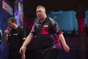 Kettering's Ricky Evans pictured during his 10-7 defeat to Daryl Gurney in the first round of the Betfred World Matchplay. Picture courtesy of Lawrence Lustig/PDC