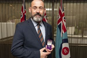 Former Melton man Alan Inkpen with his Chief of Defence Force Commendation medal awarded by the New Zealand Defence Force (NZDF) for his outstanding contribution to their Explosive Detection Dog programme EMN-190723-151934001