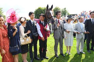 Japanese horse Deirdre and connections after their win in the Nassau Stakes / Picture by Malcolm Wells