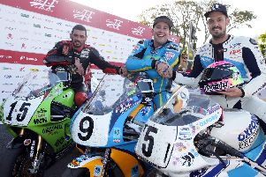 RST Superbike Classic TT winner David Johnson with runner-up Derek Sheils (left) and James Hillier. PIcture: Stephen Davison/Pacemaker Press.