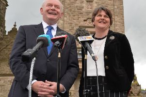 """Martin McGuinness and Arlene Foster outside Stormont Castle in 2016. That August they sent a joint letter to the prime minister, which Jim Allister says """"set the ball rolling on the nonsense of special status for Northern Ireland"""". 'Pic Colm Lenaghan/Pacemaker"""