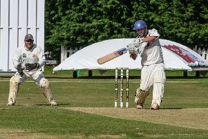 Billy Hallett scored a brutal 37 off 23 balls for Leamington 2nds on Saturday. Pictures: Lou Smith