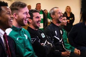 Danny Potter and Darin Killpartrick share a joke as they watch the FA Cup draw / Picture by Daniel Harker