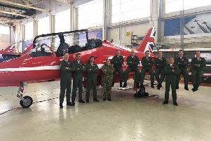 Sleaford MP Dr Caroline Johnson with the Red Arrows team at RAF Scampton. Flt Lt David Stark, the pilot involved in the crash at Anglesey, is pictured fifth from the right. EMN-180323-154903001