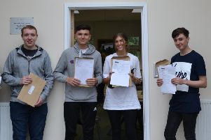 Harry Abbott, Owen Parker-Schofield, Sian Tuplin and Jake Tittershill celebrate their A-level results at  King Edward VI Academy in Spilsby ANL-180816-123330001
