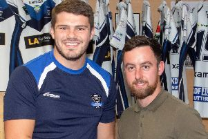 Pictured is Players' Player Lewis Wilson being presented with his award by sponsor Lewis Appleby of LA Lightbars. Photo: David Dales.